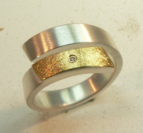 silber gold ring